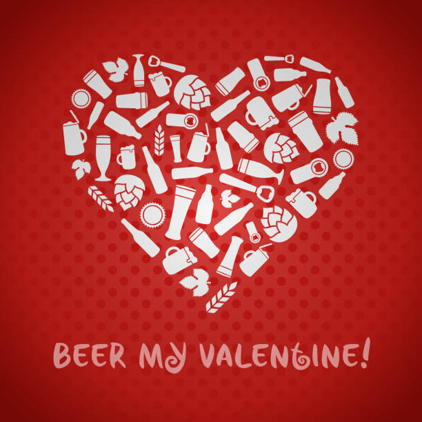 valentines day craft beer poster. - jumping stock illustrations
