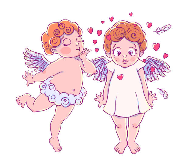 illustrazioni stock, clip art, cartoni animati e icone di tendenza di valentine's day. cupid-boy cloud pants blowing kisses - kids kiss embarrassed