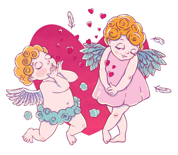 illustrazioni stock, clip art, cartoni animati e icone di tendenza di valentine's day. cupid-boy cloud pants knelt - kids kiss embarrassed