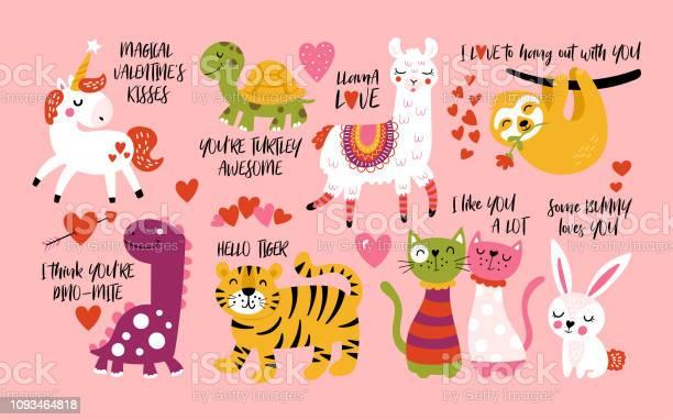 Valentines day cute animals set with llama sloth unicorn cats bunny vector id1093464818?b=1&k=6&m=1093464818&s=612x612&h=kvoan81kmwvdjc2ywwihkxdatglxqzm1et0qrgpoczk=