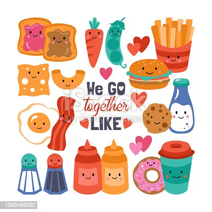 Valentine's day cute funny food set Childish print for cards, stickers, apparel and nursery decoration