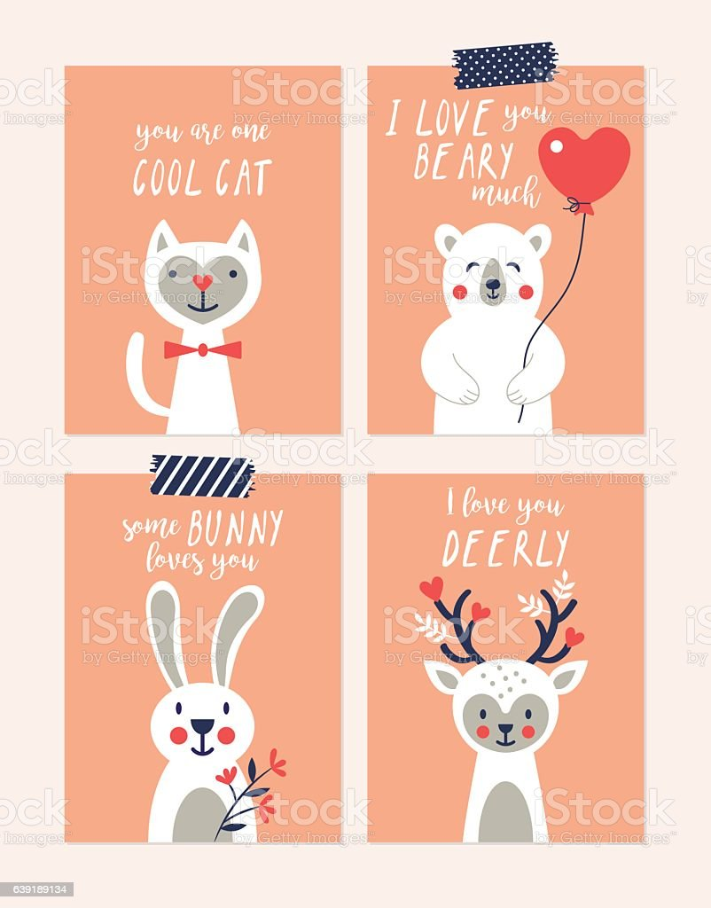 Valentines Day Cute Greeting Cards Set With Animal Characters Stock
