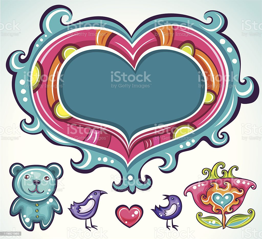 Valentine's Day cute little set royalty-free stock vector art