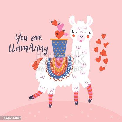 Valentine's day cute  llama greeting card.