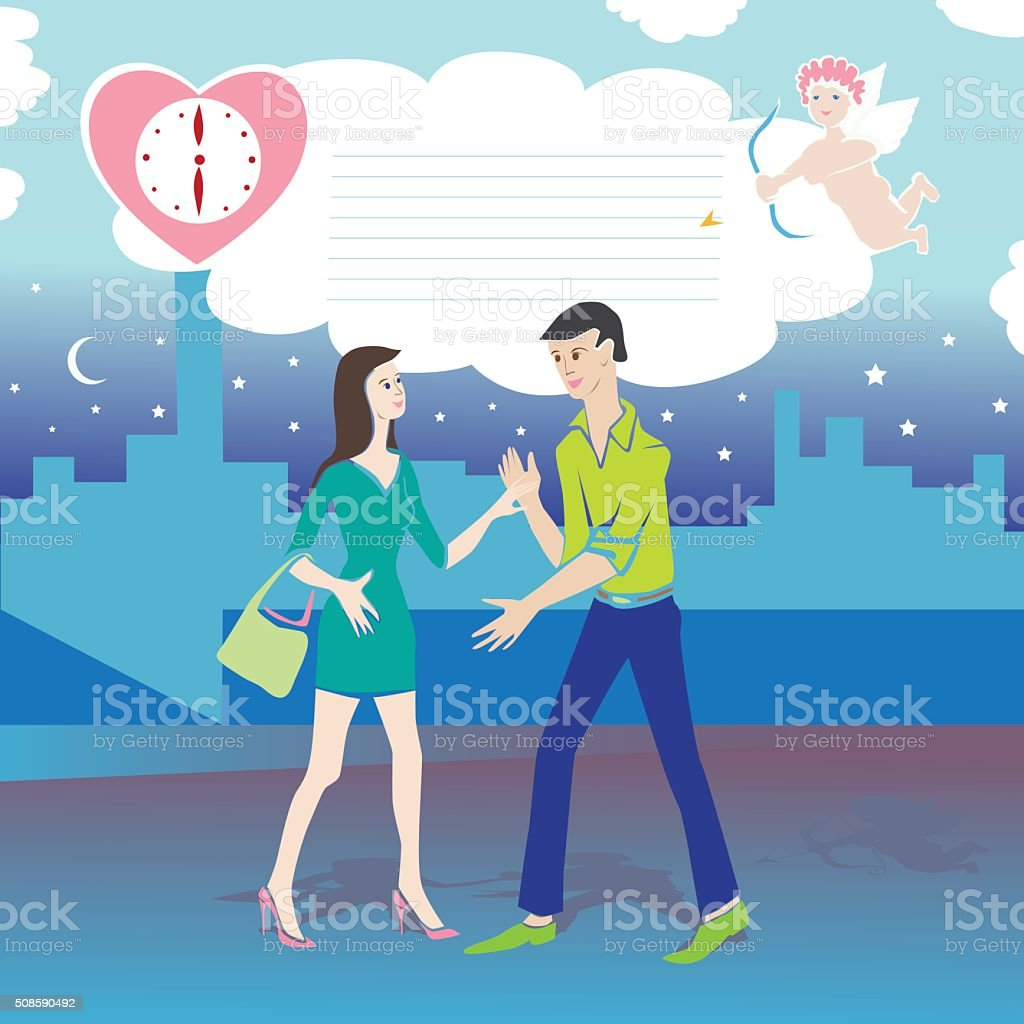 Valentinstag Datum Comic Lizenzfreies Vektor Illustration