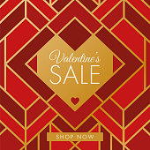 Valentine's Day design for advertising, banners, leaflets and flyers. Art Deco style - Illustration