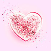 Festive sparkle red heart. Happy valentines day. Diamond heart on a pink background. Romantic design element. Luxury elegant shape with glitter heart. Vector illustration. Glittering pink heart. EPS10