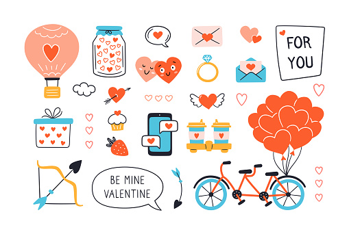 Valentines Day design set with hand drawn elements. Vector illustration
