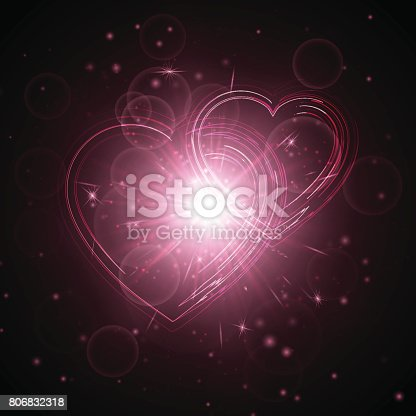 Burst background with christmas lights. Romantic festive hearts on a transparent backdrop. Vector illustration for Valentine's day.
