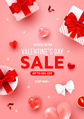Valentines day discount greeting poster with surprise boxes, helium airy heart decor, candle, serpentine on pink background. Special offer banner background template