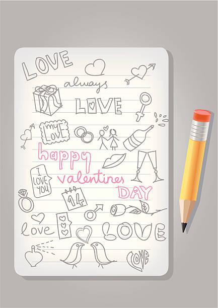 illustrazioni stock, clip art, cartoni animati e icone di tendenza di san valentino doodle - love word