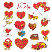 Vector Valentines Day Doodles Set.