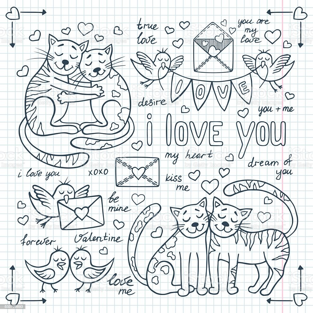 valentines day doodles set with cute animals stock vector art