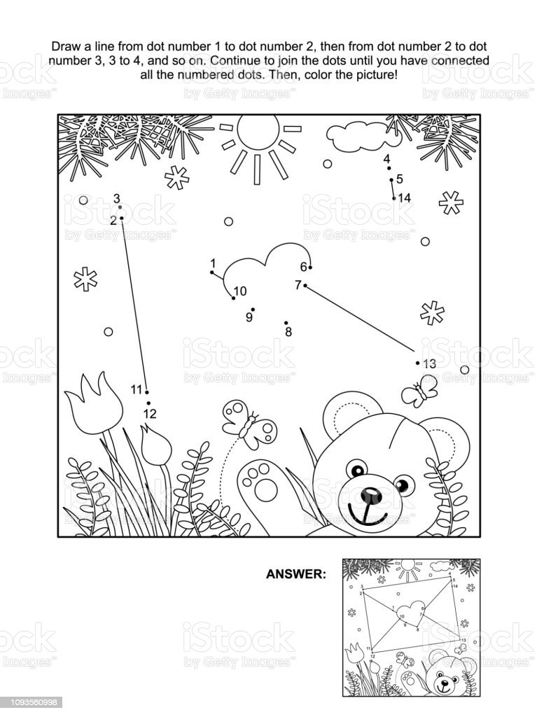 Valentines Day Dottodot And Coloring Page With Envelope And ...
