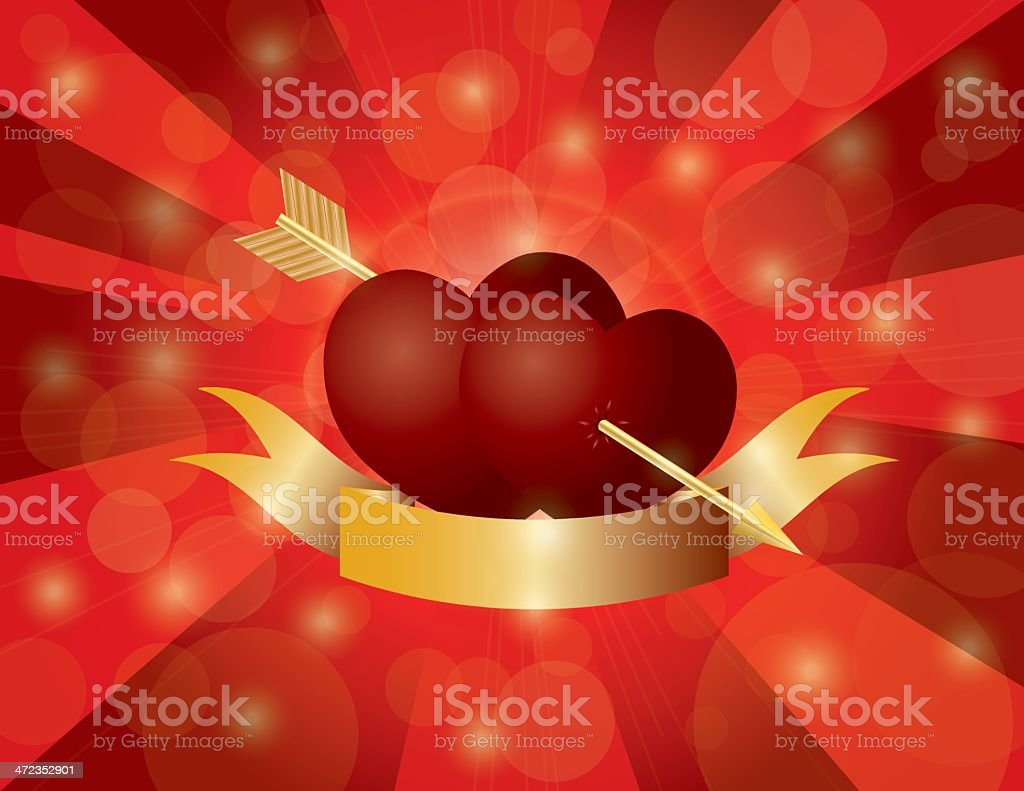 Valentines Day Double Hearts with Arrow and Banner Vector Illustrtion royalty-free valentines day double hearts with arrow and banner vector illustrtion stock vector art & more images of anniversary