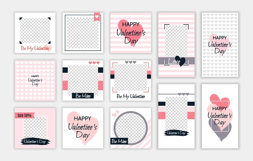 Valentine's day editable template for social media stories and posts. Vector illustration