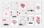 Valentine's day editable template for social networks stories and posts. Vector illustration