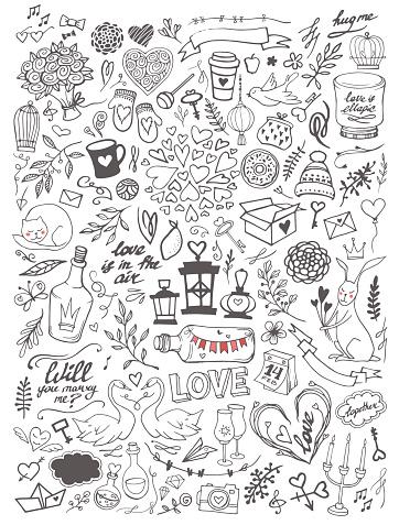 Valentine's day elements doodle set