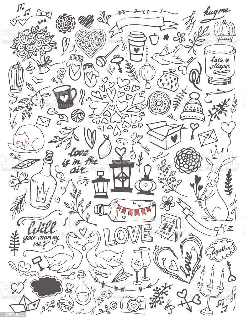 Valentine's day elements doodle set vector art illustration