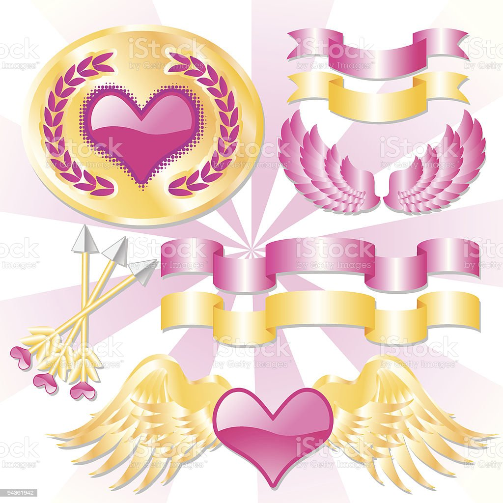 Valentines Day Elements Stock Vector Art More Images Of Abstract