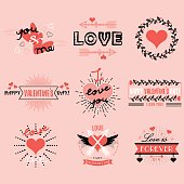 Valentines day emblems and design elements set on pink background