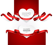 Valentines Day emblems with red ribbons. Vector illustration EPS10, transparency