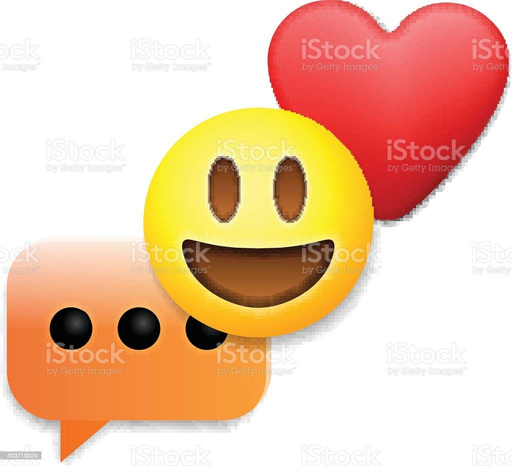 Valentinstag Emoticon Symbole Liebe Symbole Mit Emoji Stock Vektor
