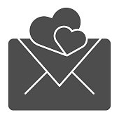 Valentines day envelope solid icon. Cover love letter message with hearts. Birthday party vector design concept, glyph style pictogram on white background, use for web and app. Eps 10