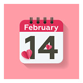 istock Valentine's Day - February 14 - Daily Calendar Icon in flat design style and pink background. 1298888372