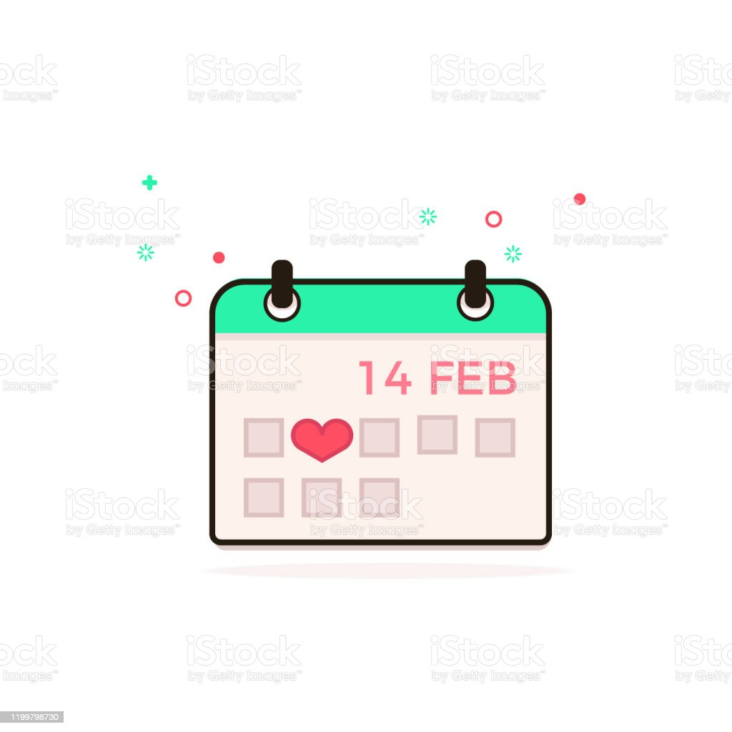 Valentine\'s Day. February. Day in the calendar. Vector image of the...