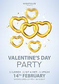 Party flyer for Happy Valentine's Day. Vector illustration with flying gold hearts with blur effect. Realistic golden symbols. Invitation to nightclub.