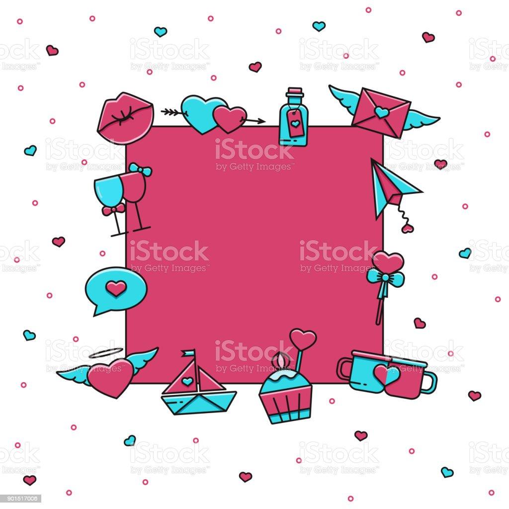 Día De San Valentín Iconos De Línea Plana De Color Alrededor De La ...