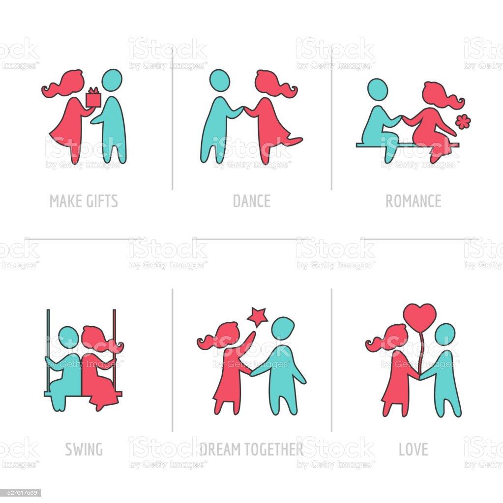 バレンタインデーのフラットアイコンカップルの愛 のイラスト素材