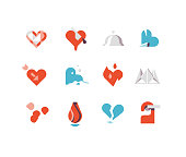 Valentine's Day flat icons series including broken heart, love, ruby heart, etc.