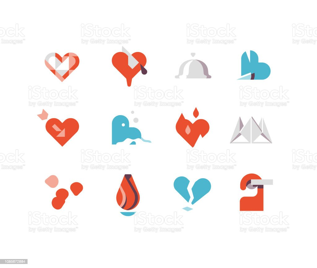 Valentine's Day Flat Icons Series 1 vector art illustration