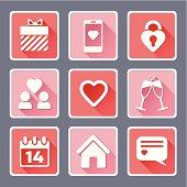 Valentine`s Day Flat icons set - vector Illustration