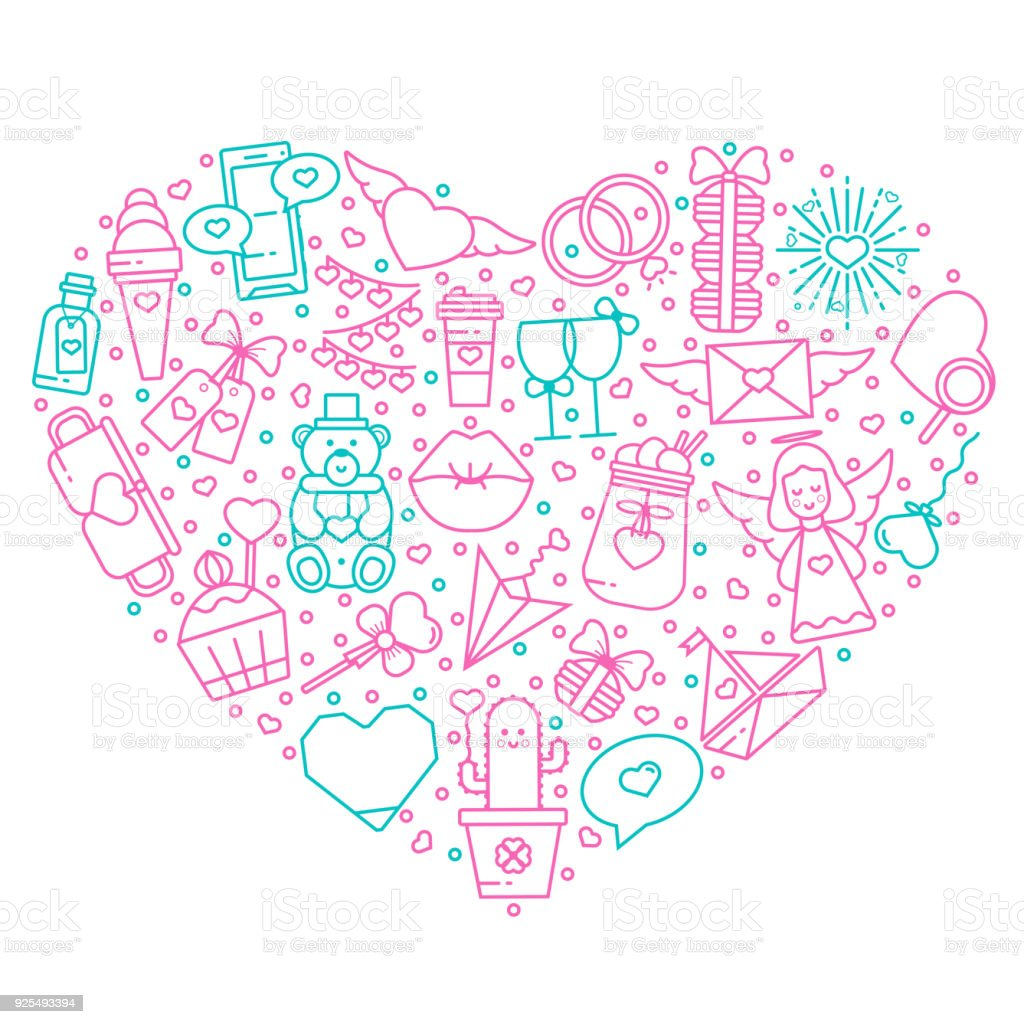 Valentines Day Flat Line Icons And Symbols Into A Heart Shaped Frame
