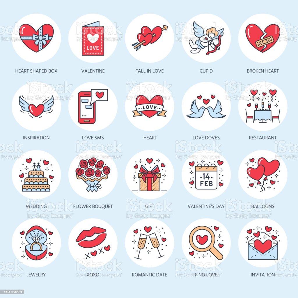 バレンタインデー フラット ライン アイコン。愛、ロマンスのシンボル - 心、婚約指輪、結婚式のケーキ、キューピッド、ロマンチックなデート、バレンタイン カード、鳩にキス、赤いバラ。2 月 14 日に線形の兆候を薄いお祝い ベクターアートイラスト
