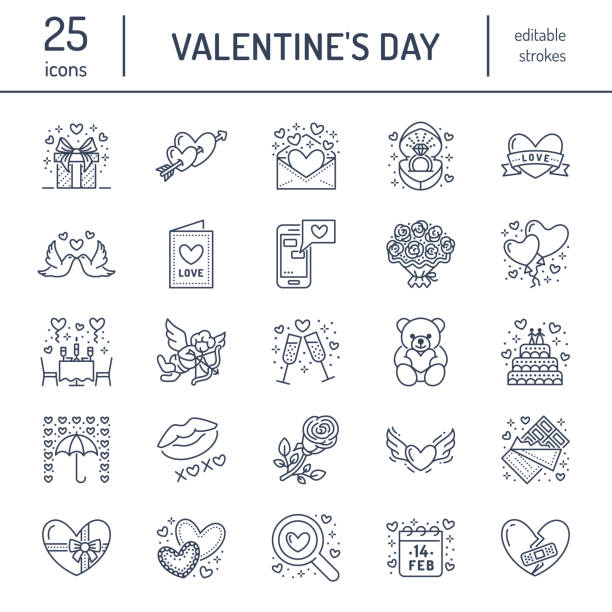 valentines day flat line icons. love, romance symbols - hearts, engagement ring, wedding cake, cupid, romantic date, valentine card, doves kiss. thin linear signs for february 14 celebration - kiss stock illustrations