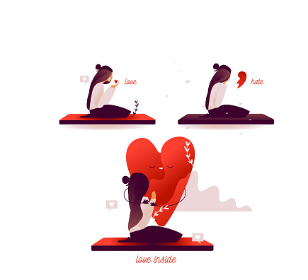 valentines day flat vector illustration tiny people in smartphone tiny. Broken red heart and crying girl, happy girl hold heart