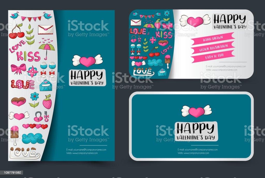 Valentinstagflyer Und Visitenkarten Gesetzt Hintergrund Für