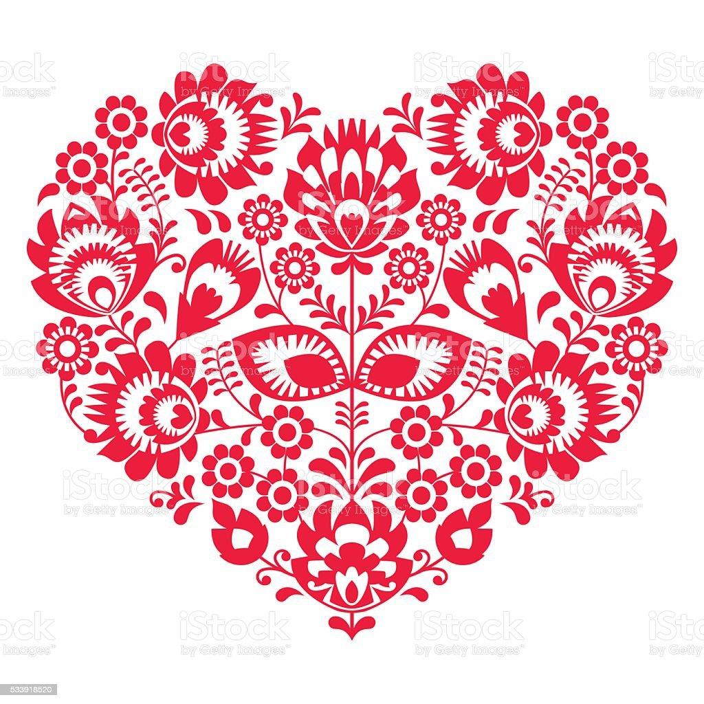 valentinstagfolk kunst roten herzpolnische muster stock vektor art und mehr bilder von blume. Black Bedroom Furniture Sets. Home Design Ideas