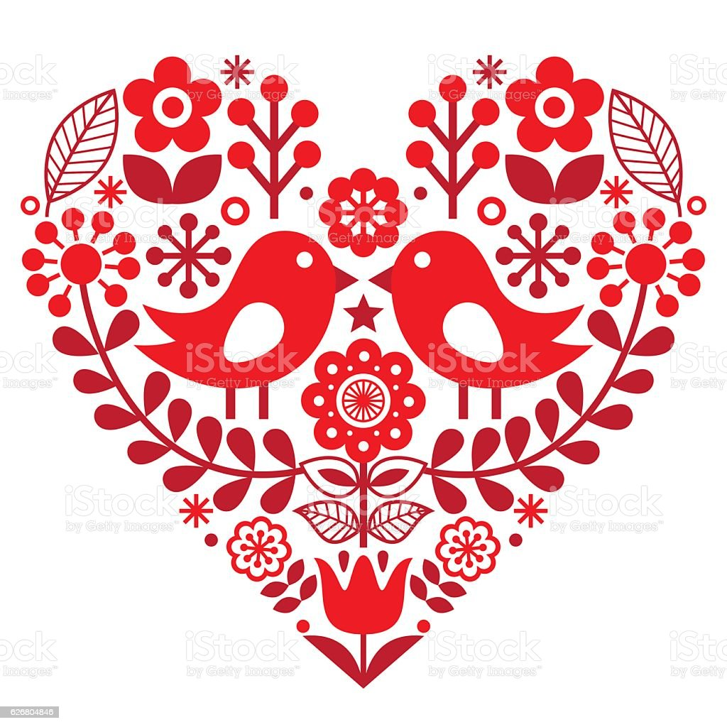 Valentine's Day folk pattern - Finnish inspired vector art illustration