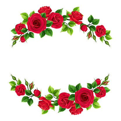 Valentine's day frame with red roses and green leaves. Vector illustration.