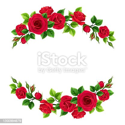 Vector Valentine's day frame with red roses and green leaves.