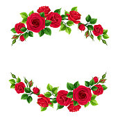 istock Valentine's day frame with red roses and green leaves. Vector illustration. 1200994679