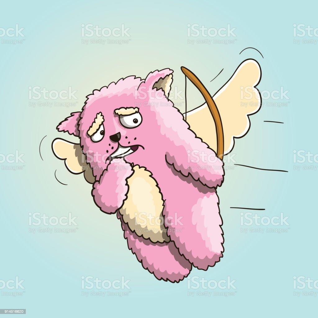 Valentinstag Lustige Amor Rosa Katze Flying On The Wings Of Love