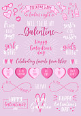 Galentines day, hand drawn vector design elements for Valentine's day card, Galentines day, ladies night, female party invitation