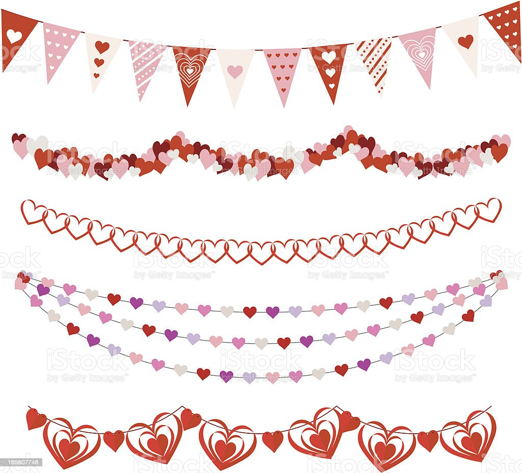 Valentines Day Garlands vector art illustration