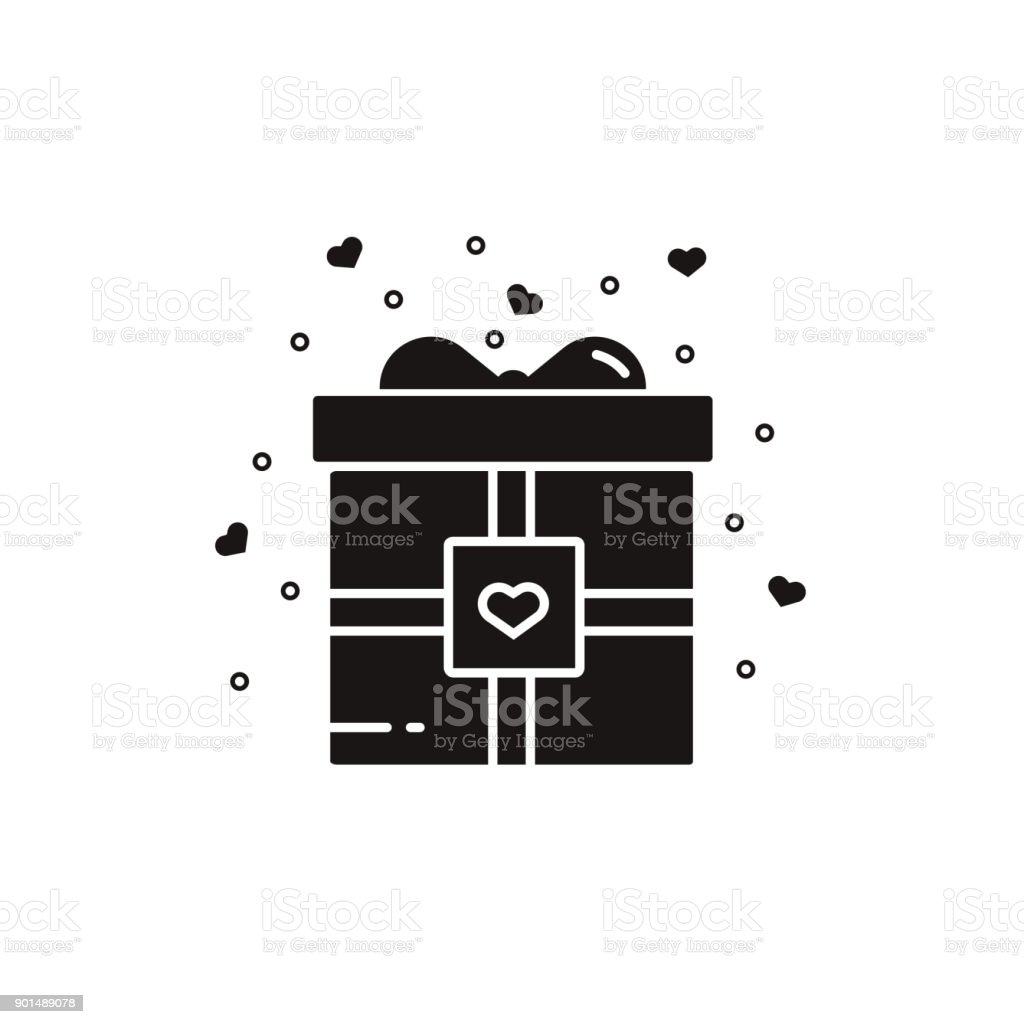 Valentines Day Gift Box Decorated With Ribbons And Bow In Black